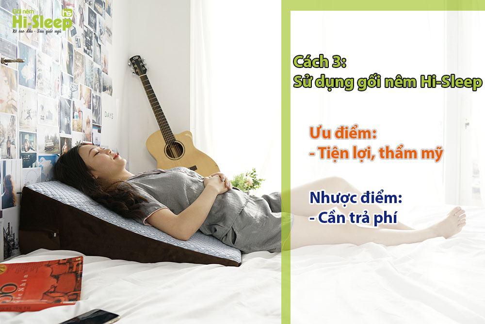 Kê cao đầu giường sử dụng gối nêm Hi-Sleep