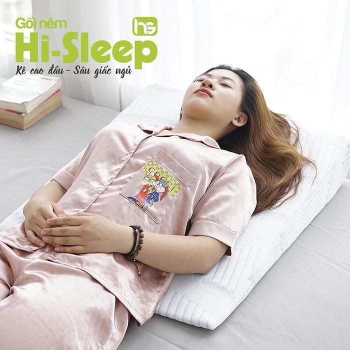 Kê cao đầu giường bằng gối nêm Hi-Sleep