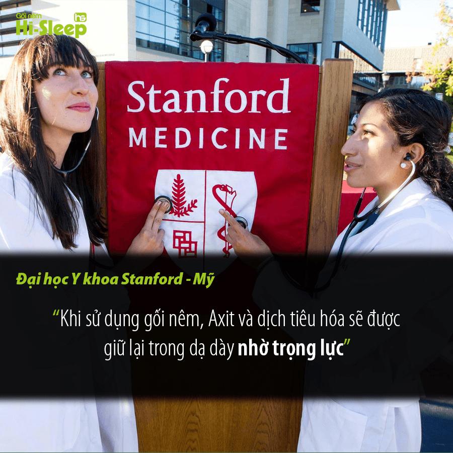 """Đại học y khoa Stanford – Mỹ: """"Khi sử dụng gối nêm, Axit và dịch tiêu hóa sẽ được giữ lại trong dạ dày nhờ trọng lực""""."""