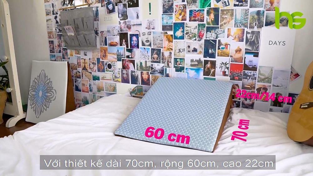 Kích thước của gối chống trào ngược Hi-Sleep loại cao 22cm