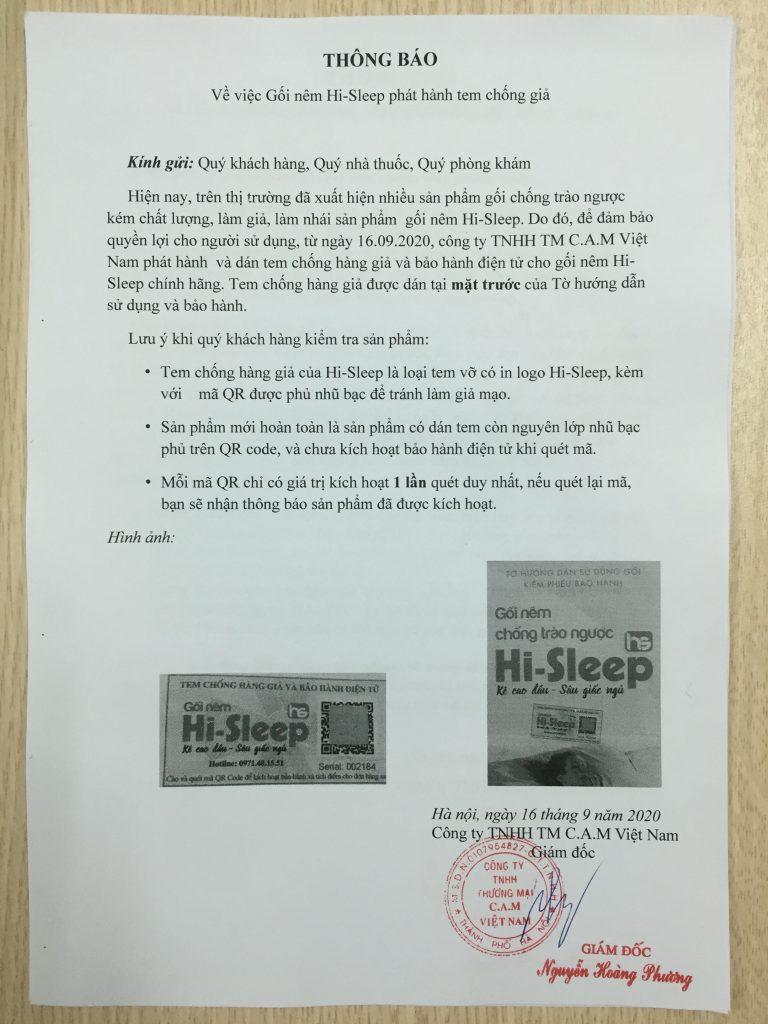 Thông báo việc gối nêm Hi-Sleep phát hành tem chống giả