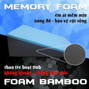 Ruột gối nêm Hi-Sleep được làm từ than tre hoạt tính Foam Bamboo